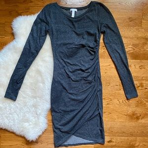 Leith Gray Long Sleeve Rouched Body-con Dress
